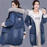 牛仔棉服女冬季新款外套女胖MM大版中长款加绒加厚冬装大衣