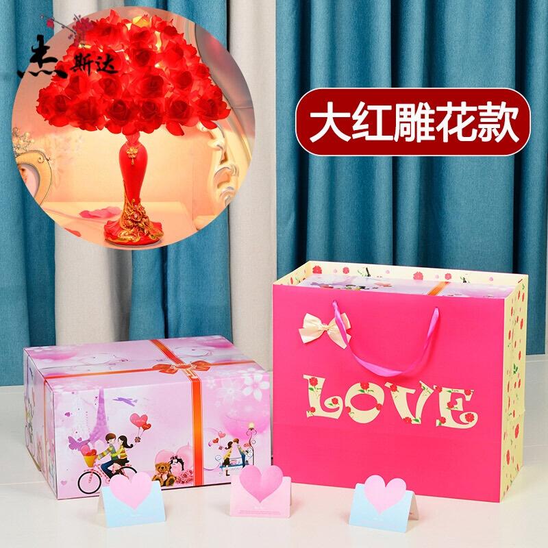 20190709231907445玫瑰花水晶台灯结婚礼物创意婚庆公主婚房长明装饰温馨卧室床头灯