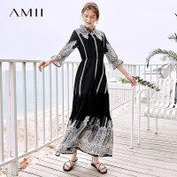 【到手价209.9元】Amii极简英伦气质连衣裙2019夏季新仙女泡泡袖蕾丝印花收腰雪纺裙