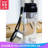 塑料杯男女耐热透明泡茶杯便携提绳加深钢滤网茶水分离随手杯 KP743 大号450ML