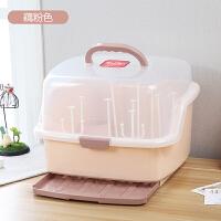 可手提奶瓶架收纳箱 婴儿奶瓶收纳箱塑料宝宝餐具奶粉盒儿童防尘干燥架 藕粉色 藕粉色