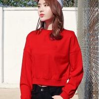 短款红色卫衣女2019秋冬韩版小个子加绒加厚宽松高腰上衣女潮 红色 棉质好面料 薄款