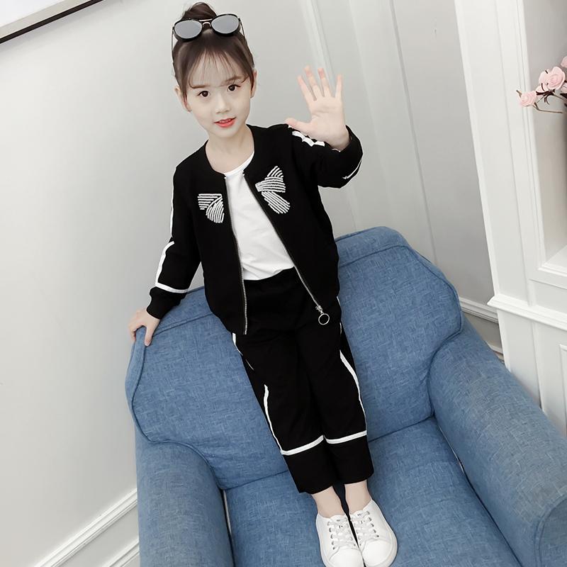 女童运动套装秋装2018新款童装中大童洋气春秋儿童长袖两件套潮衣