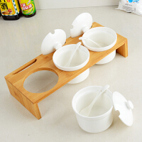 陶瓷调料盒套装调味罐盐辣椒调料罐家用厨房调味盒三件套装
