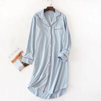 长款睡裙女 春秋季纯棉日式长裙薄款长袖睡袍纯棉睡衣纯色可外穿