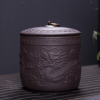 【特惠�】紫砂茶�~罐大��凸琶芊夤薹莱奔矣靡唤镅b陶瓷存茶罐普洱散茶�~盒