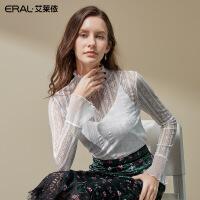 艾莱依2019秋季新款时尚半高领蕾丝衫短款喇叭袖上衣女601822091