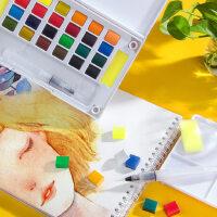 柏伦斯24色固体水彩颜料套装初学者手绘12色18色36色透明水彩画颜料分装便携水粉颜料固体画笔本套装组合
