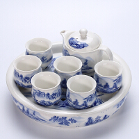 茶盘套装创意家用双层隔热功夫茶具陶瓷个性简约茶台整套茶壶茶杯 8件