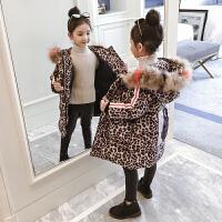 儿童加厚棉衣冬季2018新款潮中长款外套洋气豹纹女孩棉服