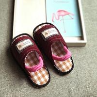 手工千层底夏季深色女童幼儿园室内拖鞋宝宝防滑软底家居鞋