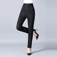 中年女裤大码加绒长裤秋冬季高腰弹力外穿打底裤妈妈女裤仿牛仔