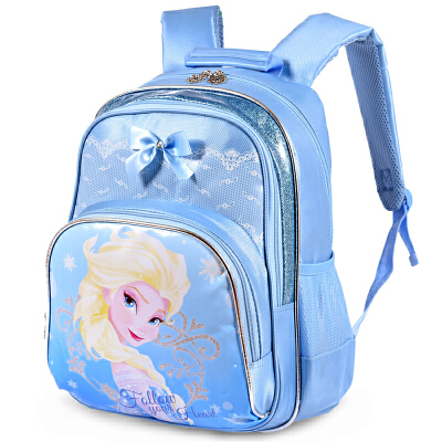 迪士尼 冰雪奇缘双肩书包(淡蓝色)FB6015BZ小学生儿童休闲双肩卡通背包书包 迪士尼儿童背包 当当自营
