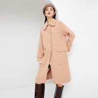 伊芙丽毛呢外套女2020冬季新款奶茶色呢大衣亮丝中长款女士双面呢