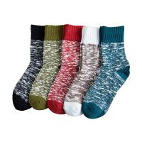 袜子男中筒袜秋冬季棉长袜男士保暖棉袜运动袜民族风男袜潮 5个颜色各一双 均码