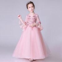 花童礼服婚纱公主裙长裙女童钢琴演出服长袖小模特走秀儿童蓬蓬裙 D10-133粉红色
