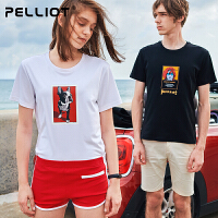 伯希和户外运动短袖T恤 男女春夏圆领跑步快干衣时尚休闲印花短袖