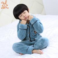 儿童睡衣珊瑚绒加厚款法兰绒中大童男孩家居服套装保暖冬季