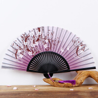 女式折扇夏季日式樱花扇子古风绢扇丝绸布扇牡丹扇梅花