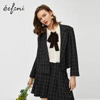 伊芙丽西装外套女2020新款春装休闲女士西服女上衣短款格子小西装