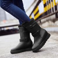 彼艾2017秋冬新款韩版甜美高级PU皮带扣雪地靴平底内增高短靴女冬季保暖毛毛靴女靴