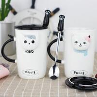 情侣杯子一对陶瓷马克杯创意可爱办公室带盖带勺家用猫咪咖啡水杯