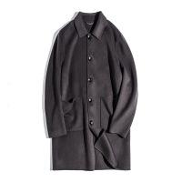 大码男装双面羊毛大衣中长款加肥加大胖子毛呢冬外套肥佬呢子风衣 深灰色
