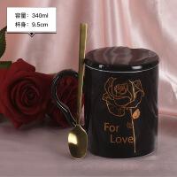 创意潮流咖啡杯带盖勺办公室情侣陶瓷杯子一对简约家用水杯马克杯