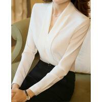白色衬衫女长袖V领宽松休闲打底韩范百搭雪纺学生韩版职业衬衣夏 长袖白色衬衫(送运费险)