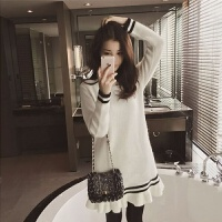 秋冬装针织打底衫女中长款韩版百搭宽松套头连衣裙毛衣女学生