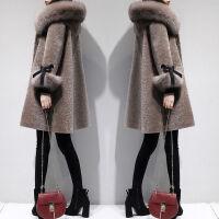 2019女装冬装宽松大码中长款外套女显瘦连帽毛领毛毛大衣加厚 驼色
