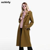 [9月12日3件7折到手价:397元]ochirly欧时力新女装西装领腰带长款宽松羊毛呢外套1JZ3349870