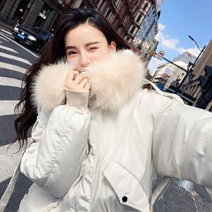 RANJU然聚2018秋季女装新品新款网红款棉服大毛领学生面包服棉衣外套
