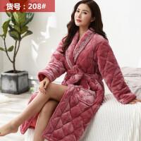 女士睡袍冬季加厚加�L款睡衣珊瑚�q三��A棉浴袍加�q保暖�L袍冬款