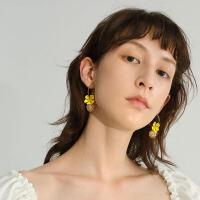2019夏季新款潮耳饰黄色花朵耳环女士仙女花瓣耳钉耳坠