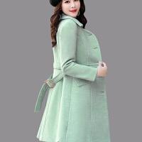 小个子毛呢外套女2019冬季女装潮中长款加厚韩版秋冬呢子大衣 豆绿色