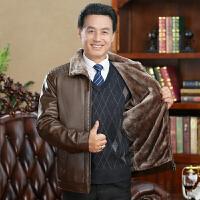 秋冬季中老年皮衣男外套爸爸装40-50岁皮毛一体宽松pu皮夹克加绒