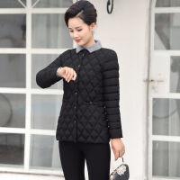 棉衣女短款2019冬季修身显瘦大码女装棉袄中年妈妈装外套 XL 90-102斤