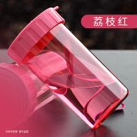 310ml随手儿童水杯子运动便携带盖密封防漏水杯透明男女杯