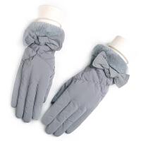 女士触摸屏手套秋冬季冬天加绒加厚保暖五指全指款骑行韩版