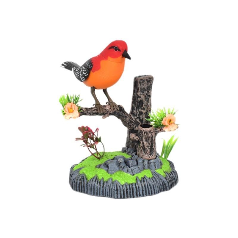玩具鸟笼带会叫的小鸟 仿真声控小鸟电动感应鹦鹉会叫会动会说话宠物鸟笼儿童玩具