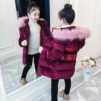 儿童棉衣2018新款冬季加厚外套中大童女孩棉服中长款丝绒
