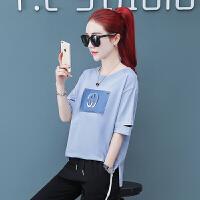 运动套装女夏季2019新款韩版宽松大码胖mm纯棉短袖休闲服两件套潮