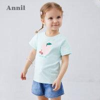 【抢购价:32.9】安奈儿童装女小童T恤纯棉2020夏季新款宝宝印花体恤圆领短袖上衣