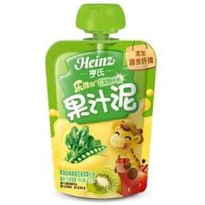 亨氏 Heinz乐维滋果汁泥-苹果猕猴桃豌豆菠菜(1-3岁)120g/袋 宝宝辅食