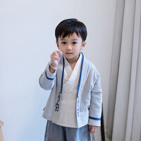 男童汉服小孩唐装儿童中国风童装古装春装国学服装书童演出服套装 浅灰色 外套 90cm
