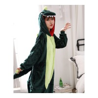 卡通恐龙连体睡衣动物粉绿恐龙男可爱情侣珊瑚绒冬季法兰绒