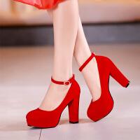 201808271920431012018新款结婚鞋子女红色粗跟婚礼新娘鞋高跟防水台红鞋婚纱敬酒鞋