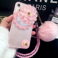 iPhone6s苹果6plus硅胶套7兔毛球hello kitty镜子手机壳软5se防摔