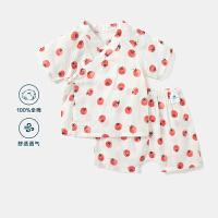迷你巴拉巴拉婴儿纯棉长袖内衣套装2020夏季透气柔软水果印花